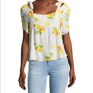Saks Fifth Avenue Lemon White Summer Blouse Sz L